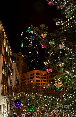 Seattle Downtown Christmas Time Art Prints Art Print by Valerie Garner