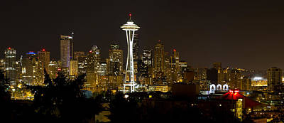 Outdoors Photograph - Seattle Downtown Skyline Evening Panorama by David Gn