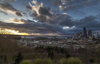 Skylines Royalty-Free and Rights-Managed Images - Seattle Dramatic Dusk by Mike Reid