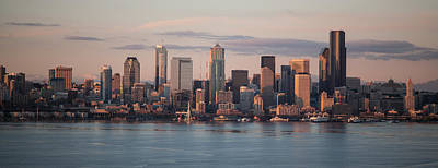 Skylines Royalty-Free and Rights-Managed Images - Seattle Dusk Skyline by Mike Reid