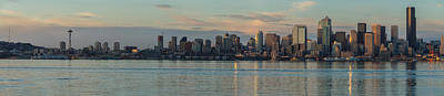 Skylines Royalty-Free and Rights-Managed Images - Seattle Dusk Skyline Reflection by Mike Reid