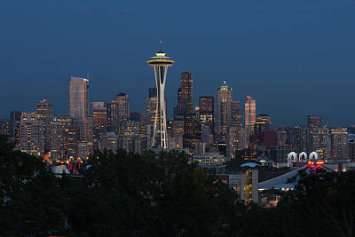 Seattle Emerald City At Night Art Print
