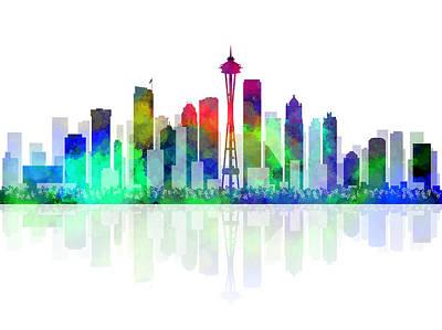 Seattle Skyline Digital Art - Seattle Evergreen by Daniel Hagerman