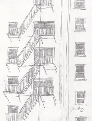 Seattle Drawing - Seattle Fire Escape by Janel Bragg