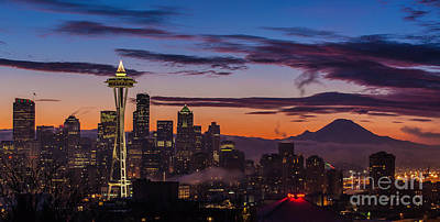 Photograph - Seattle Fog Sunrise Purples by Mike Reid