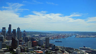 Photograph - Seattle Harbor And Mt Rainier From Space Needle by Judy Wanamaker