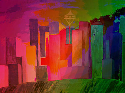 Seattle Highlights Art Print by Erica  Darknell