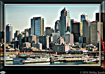 Digital Art - Seattle by Holley Jacobs