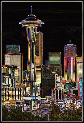 Photograph - Seattle In Neon by Jeff Cook