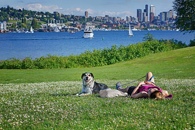 Seattle - Lake Union - Gas Works Park Art Print by Nikolyn McDonald