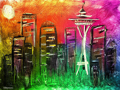 Mixed Media - Seattle Land Of Color by Melisa Meyers