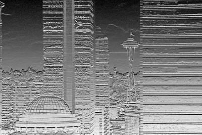 Seattle Landscape Chrome Art Print by Brad Walters