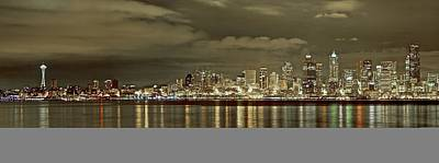 Photograph - Seattle Lights At Night From Alki by SC Heffner