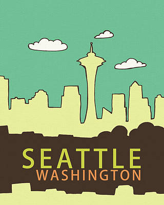 Wa Painting - Seattle by Lisa Barbero