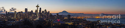 Puget Sound Photograph - Seattle Morning Glow by Mike Reid