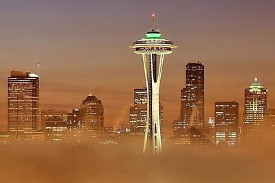 Photograph - Seattle Morning Mist by Benjamin Yeager