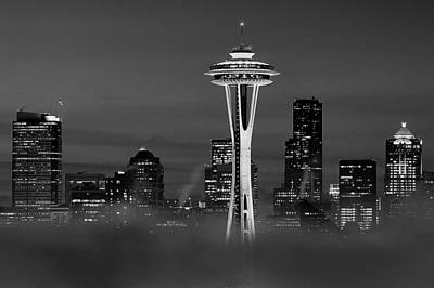 Seattle Morning Mist Black And White Art Print by Benjamin Yeager