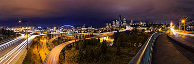Photograph - Seattle Night Panorama by Dustin  LeFevre