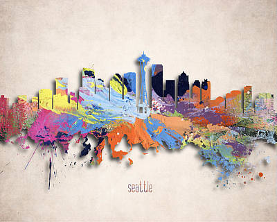 Tourism Digital Art - Seattle Painted City Skyline by World Art Prints And Designs