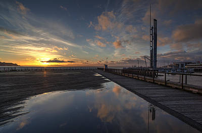 Skylines Royalty-Free and Rights-Managed Images - Seattle Pier Sunset by Mike Reid