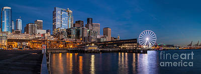The Wheel Photograph - Seattle Piers And Cityscape by Mike Reid