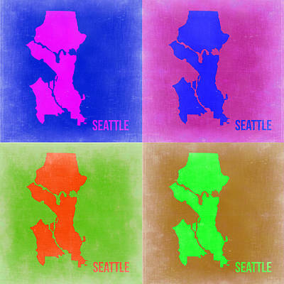 Seattle Digital Art - Seattle Pop Art Map 2 by Naxart Studio
