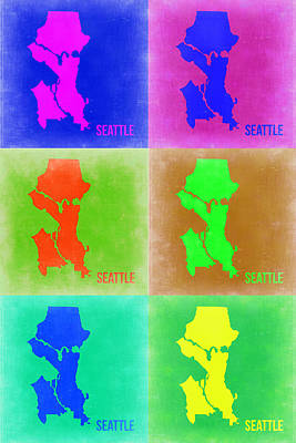 Seattle Digital Art - Seattle Pop Art Map 3 by Naxart Studio