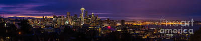 Photograph - Seattle Pre Sunrise Wide by Mike Reid