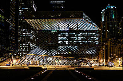 Seattle Public Library At Night Art Print by Brian Xavier