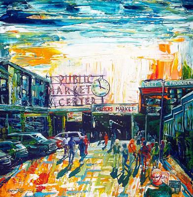 Seattle Public Market Center Art Print by Suzanne King