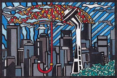 Drawing - Seattle Rain by Molly Williams