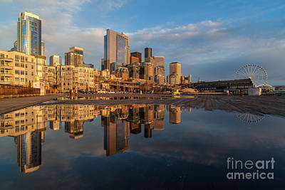 Seattle Waterfront Photograph - Seattle Reflection Golden Light by Mike Reid