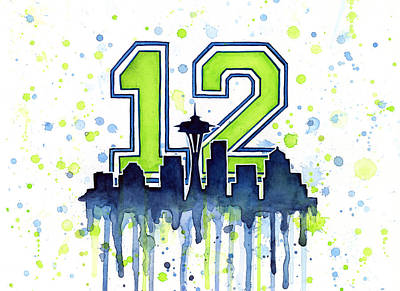 Seattle Skyline Painting - Seattle Seahawks 12th Man Art by Olga Shvartsur