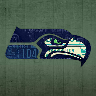 Seattle Mixed Media - Seattle Seahawks Football Team Retro Logo Washington State License Plate Art by Design Turnpike