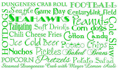 Digital Art - Seattle Seahawks Game Day Food 1 by Andee Design