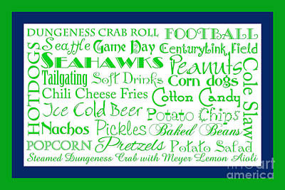 Seattle Seahawks Game Day Food 2 Art Print by Andee Design