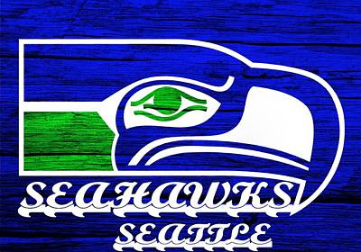 Champion Mixed Media - Seattle Seahawks Weathered Wood by Dan Sproul