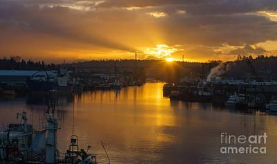 Seattle Ship Canal Sunstar Morning Art Print by Mike Reid