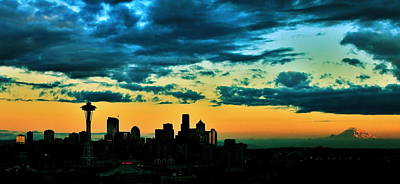 Photograph - Seattle Silhouette by Benjamin Yeager