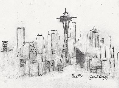 Seattle Drawing - Seattle Sketch by Janel Bragg