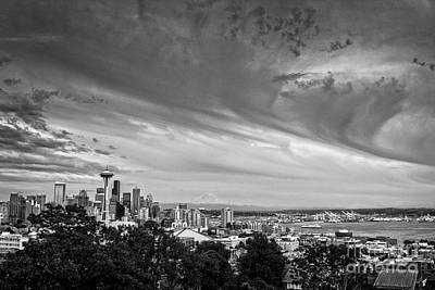 Photograph - Seattle Skies In Black And White by Sonya Lang