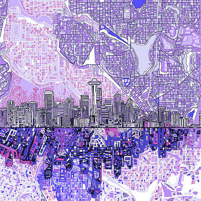 Seattle Skyline Painting - Seattle Skyline Abstract 3 by Bekim Art