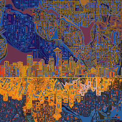 Seattle Skyline Painting - Seattle Skyline Abstract 4 by Bekim Art