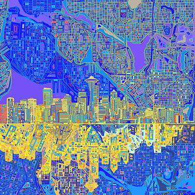 Seattle Skyline Painting - Seattle Skyline Abstract 6 by Bekim Art
