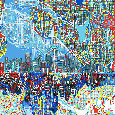 Seattle Skyline Painting - Seattle Skyline Abstract 7 by Bekim Art