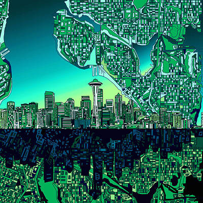 Seattle Skyline Painting - Seattle Skyline Abstract by Bekim Art