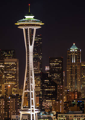 Seattle Skyline At Night - City Skyline Night Photograph Original by Duane Miller