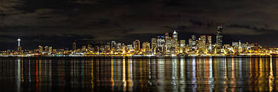 Seattle Waterfront Photograph - Seattle Skyline At Night by Tanya Harrison