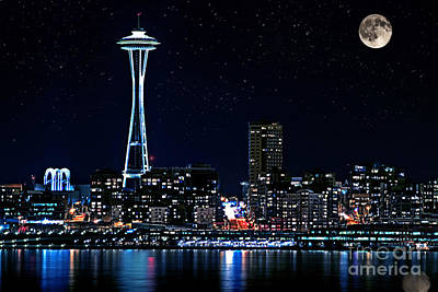 Seattle Skyline At Night With Full Moon Art Print