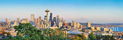 Holidays Photograph - Seattle Skyline At Sunset by JR Photography